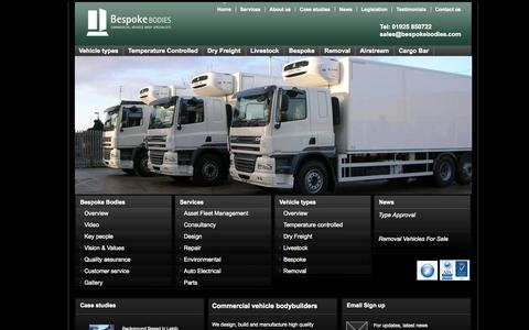 Screenshot of Home Page Site Map Page bespokebodies.com - Bespoke commercial bodybuilders and specialist repair company | Bespoke Bodies - captured Sept. 30, 2014