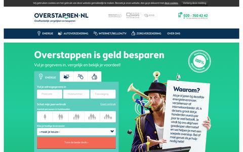 Screenshot of Home Page overstappen.nl - Overstappen.nl: Onafhankelijk vergelijken & Overstappen - captured Jan. 26, 2015