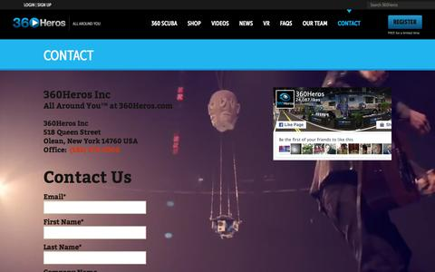 Screenshot of Contact Page 360heros.com - Contact | 360Heros | VR | Virtual Reality - captured March 2, 2016