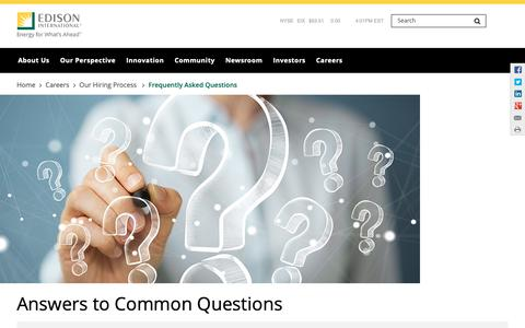 Screenshot of FAQ Page edison.com - Careers Frequently Asked Questions | Edison International - captured Jan. 18, 2019
