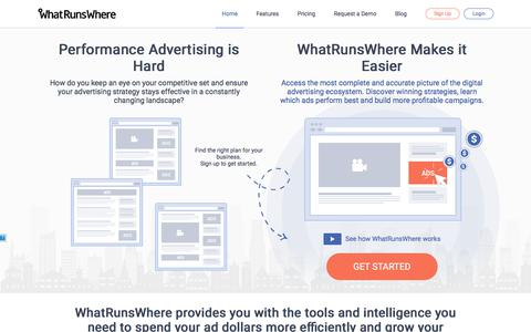 Screenshot of Home Page whatrunswhere.com - WhatRunsWhere | Display, Mobile & Native Ad Intelligence - captured Oct. 13, 2017