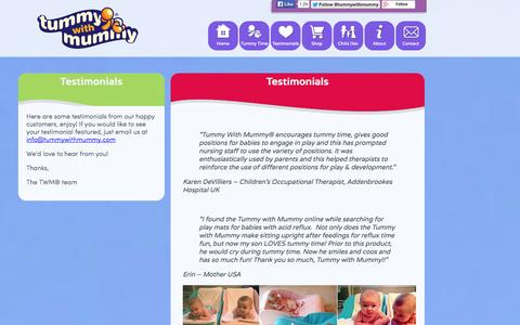 Screenshot of Testimonials Page tummywithmummy.com - Testimonials   Tummy With Mummy, the Best Start in LIfe - captured Oct. 9, 2014