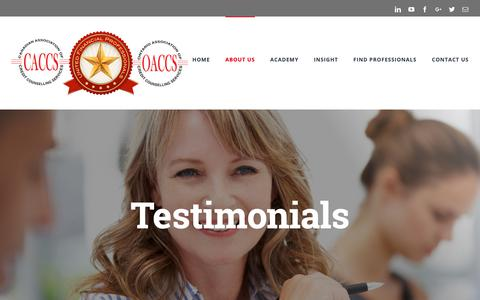 Screenshot of Testimonials Page financialfitness.ca - Testimonials | OACCS, CACCS – Canada's Credit Counselling & Financial Literacy Authority - captured Oct. 24, 2018