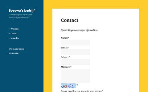 Screenshot of Contact Page bozuwa.nl - Contact – Bozuwa's bedrijf - captured Jan. 26, 2017