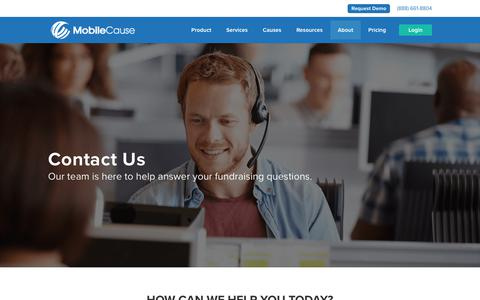 Screenshot of Contact Page mobilecause.com - Contact Our Support Team or Fundraising Experts | MobileCause - captured Nov. 12, 2018
