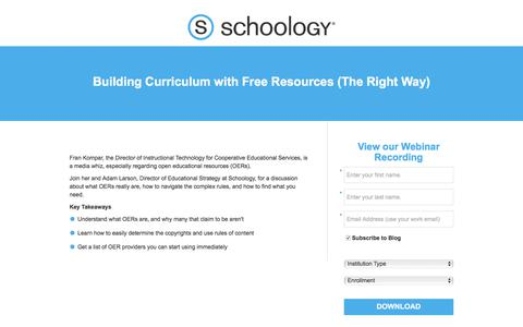 Screenshot of Landing Page schoology.com - Building Curriculum with Free Resources (The Right Way) - captured June 23, 2017