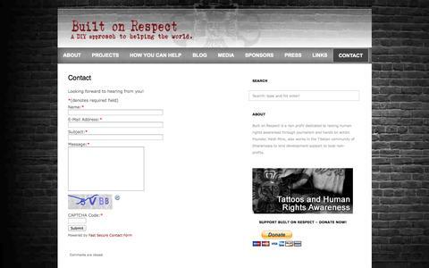 Screenshot of Contact Page builtonrespect.com - Built On Respect  » Contact - captured Sept. 30, 2014
