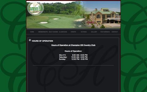 Screenshot of Hours Page championhillscountryclub.com - Hours of Operation at Champion Hills Country Club | Victor, NY - captured Sept. 29, 2014