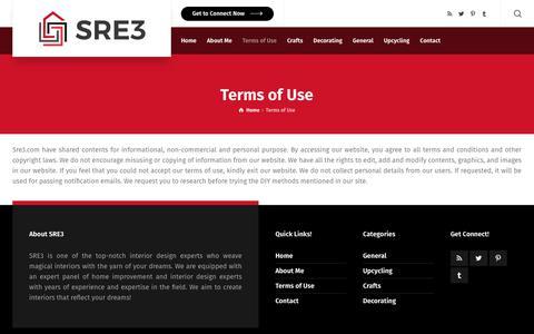 Screenshot of Terms Page sre3.com - Terms of Use - SRE3|Home Decoration|Home Renovation | Remodeling | sre3.com - captured May 29, 2019