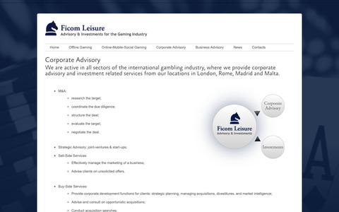 Screenshot of Services Page ficomleisure.com - Corporate Advisory  –   Ficom Leisure - captured Oct. 10, 2018