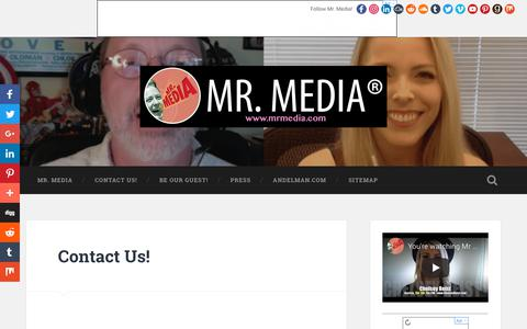 Screenshot of Contact Page mrmedia.com - Contact Mr. Media - Interviews with Radio Interviews | Mr. Media® Interviews - captured Oct. 21, 2018