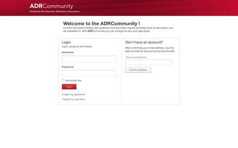 Screenshot of Login Page adr.org - Login | ADRCommunity - captured Oct. 8, 2017