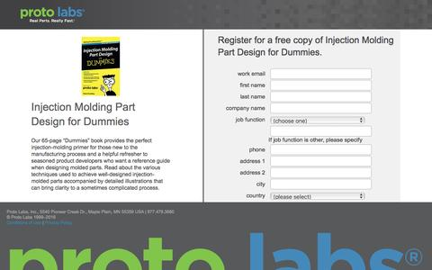 """Screenshot of Landing Page protolabs.com - Register for a free copy of """"Injection Molding Part Design for Dummies�. - captured Aug. 9, 2016"""