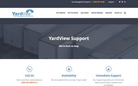 Screenshot of Support Page yardview.com - Support - Yardview - YMS Yard Management System - captured May 26, 2017