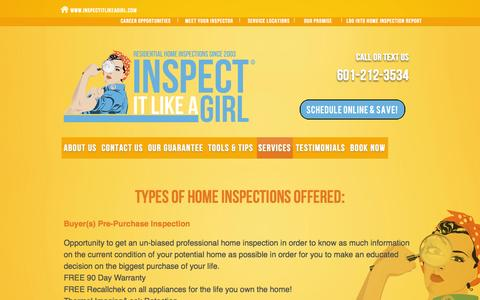 Screenshot of Services Page inspectitlikeagirl.com - Our Services | Inspect It Like A Girl - captured Sept. 30, 2014