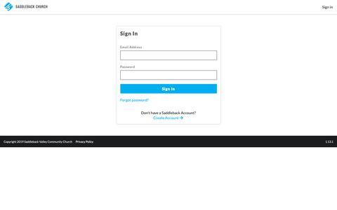 Screenshot of Login Page saddleback.com - Saddleback Identity Server - captured March 16, 2019