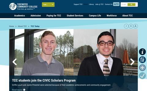 Screenshot of Press Page tcc.edu - TCC Today - - captured Feb. 11, 2016