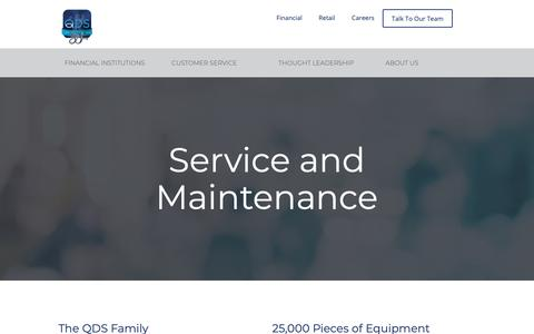 Screenshot of Services Page Support Page qualitydatasystems.com - QDS Service and Maintenance - captured Sept. 28, 2018