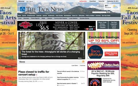 Screenshot of Home Page taosnews.com - The Taos News - captured Sept. 25, 2014