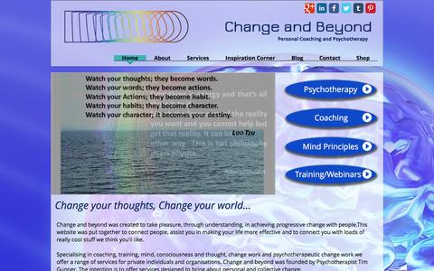 Screenshot of Home Page changeandbeyond.com - Personal Coaching and Psychotherapy - captured Nov. 3, 2016