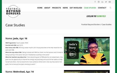 Screenshot of Case Studies Page footballbeyondborders.org - Case Studies - Football Beyond Borders - captured Aug. 4, 2016