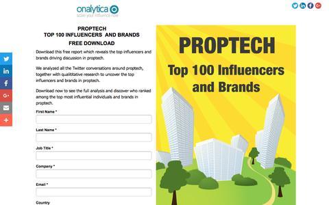Screenshot of Landing Page onalytica.com - PropTech: Top 100 Influencers and Brands - captured Dec. 31, 2016