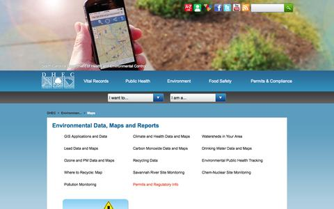 Screenshot of Maps & Directions Page scdhec.gov - DHEC: Environmental Data, Maps, Reports - captured Oct. 3, 2014