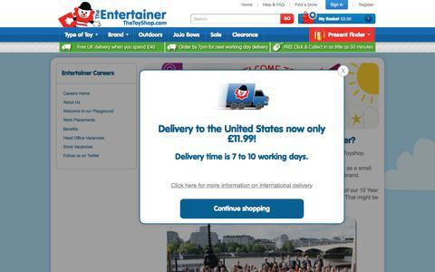 Screenshot of Jobs Page thetoyshop.com - TheToyShop | Career - The Entertainer - captured July 20, 2017