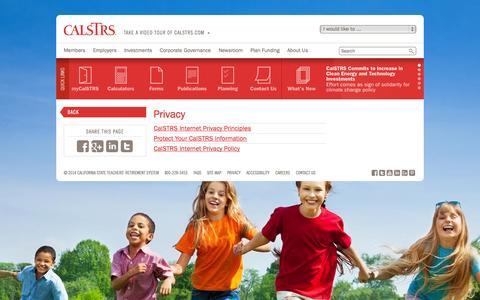 Screenshot of Privacy Page calstrs.com - Privacy - CalSTRS.com - captured Sept. 23, 2014