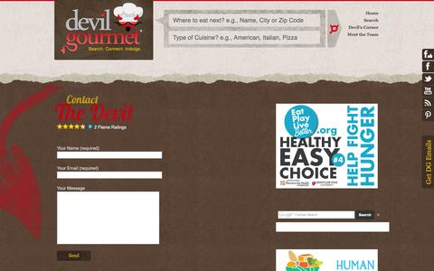 Screenshot of Contact Page devilgourmet.com - Contact Devil Gourmet – Devil Gourmet - captured Oct. 9, 2014