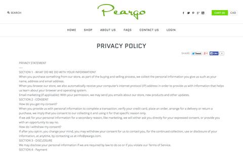 Screenshot of Privacy Page peargo.com - Privacy Policy - captured Sept. 29, 2014