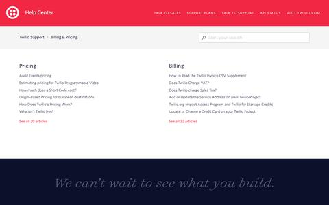 Screenshot of Support Page twilio.com - Billing & Pricing – Twilio Support - captured June 13, 2019