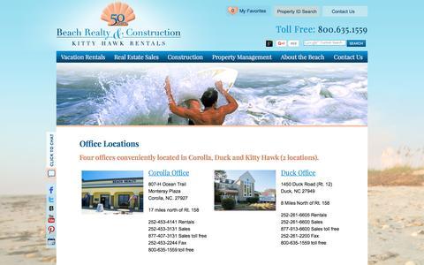 Screenshot of Locations Page beachrealtync.com - Outer Banks Office Locations | Outer Banks Vacation Rentalss - captured Jan. 14, 2016