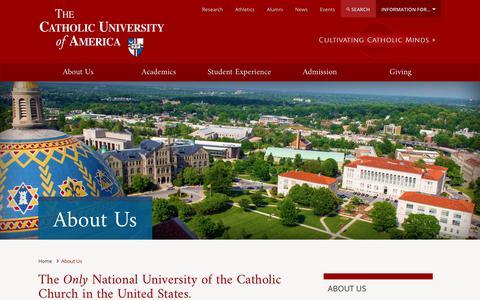 Screenshot of About Page catholic.edu - About Us - The Catholic University of America | CUA - captured July 10, 2017
