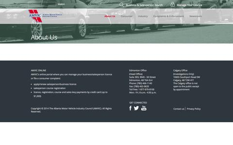 Screenshot of About Page amvic.org - About Us - Alberta Motor Vehicle Industry Council - captured Nov. 2, 2014