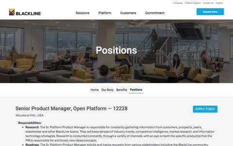 Screenshot of Jobs Page blackline.com - Senior Product Manager, Open Platform| Woodland Hills, CA, United States - captured Nov. 29, 2019