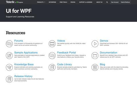 Screenshot of Trial Page telerik.com - Support Resources for Telerik UI for WPF - captured Nov. 9, 2016