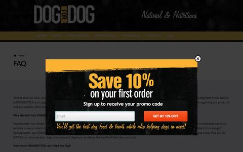 Screenshot of FAQ Page dogfordog.com - Natural Dry Dog Food Helps Dogs Live Active and Healthy Lives - captured Aug. 27, 2016
