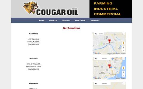 Screenshot of Locations Page cougaroil.com - Locations | Cougar Oil - captured Sept. 3, 2017