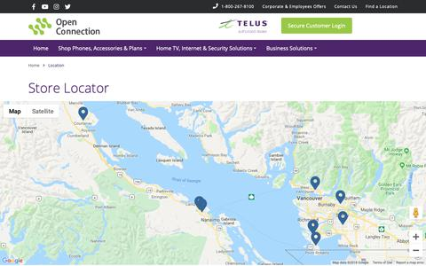 Screenshot of Locations Page openconnection.com - Open Connection TELUS and Koodo Mobile Store Locations - captured Dec. 14, 2018