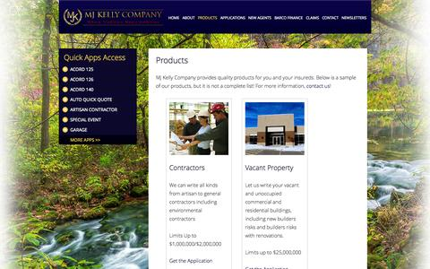 Screenshot of Products Page mjkelly.com - MJ Kelly Company :: MJ Kelly Company Offers a Variety of Insurance Products to Meet Your Needs! - captured Oct. 3, 2014