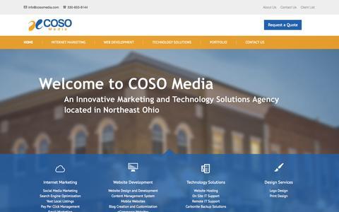 Screenshot of Home Page cosomedia.com - COSO Media | Internet Marketing | Web Development | COSO Media | Ohio - captured Sept. 26, 2014