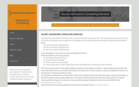 Screenshot of Signup Page prehealthadvising.com - Hourly Admissions Consulting Services - prehealthadvising.com Admissions Consulting - prehealthadvising.com Admissions Consulting - captured Feb. 2, 2016