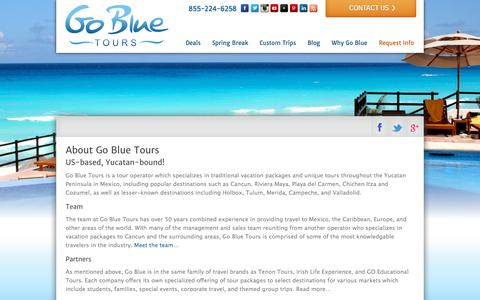 Screenshot of About Page gobluetours.com - Traditional Vacation Packages and Unique Tours to the Yucatan & Mexico - captured Sept. 23, 2014