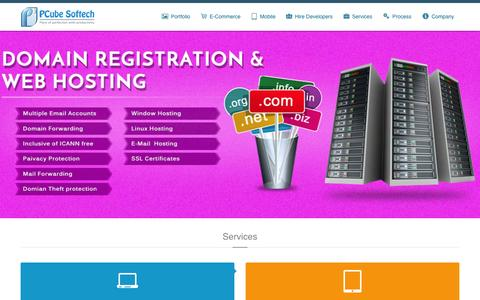 Screenshot of Home Page pcubesoftech.com - Website Design & Development Company India | Web Developers India - captured March 4, 2016
