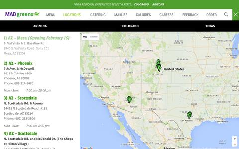Screenshot of Locations Page madgreens.com - MAD Greens | Locations - captured Feb. 2, 2016
