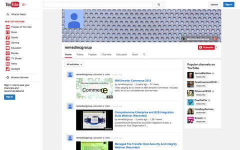 Screenshot of YouTube Page youtube.com - remediecgroup  - YouTube - captured Oct. 26, 2014