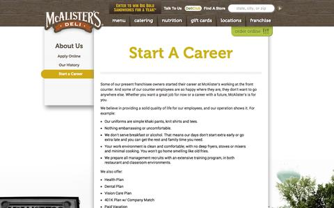 Screenshot of Jobs Page mcalistersdeli.com - Start a Career | McAlister's Deli - captured Oct. 27, 2014