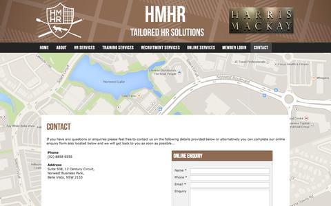 Screenshot of Contact Page harrismackayhr.com - HMHR - captured Sept. 29, 2014