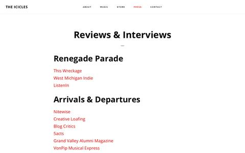 Screenshot of Press Page theicicles.com - Reviews & Interviews - The Icicles - captured Dec. 11, 2018